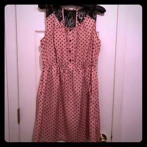 Pink and black poke a dot dress